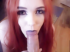 Redhead blowing cock & swallows huge load of cum *POV*